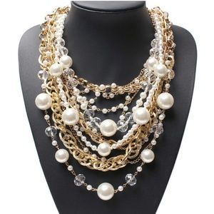 Golden Pearls Statement Necklace